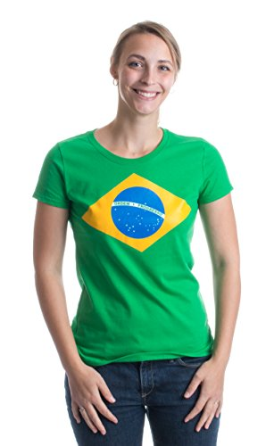 BRAZIL NATIONAL FLAG Ladies' T-shirt/Bandeira do Brasil, Brazilian-Green,Ladies-Small