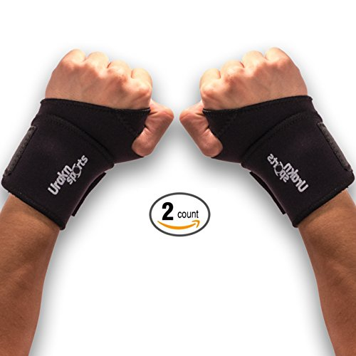 Wrist Hand Brace Wrap Neoprene Adjustable 2PCS Heavy Duty Velcro Support for, Tennis, Weight Lifting, Training, Workout, Yoga, Bowling, Exercise, Tunnel Carpal, Yoga, Gymnastics, Typing - Urakn Sports by Urakn Sports