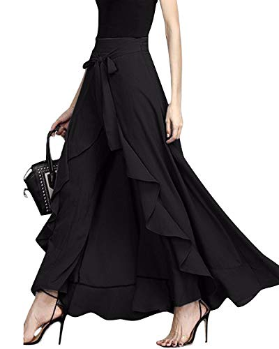 GIKING Women Ruffle Pants Full Length Split High Waist Retro Maxi Chiffon Long Skirt Black M - Black Chiffon Ruffle