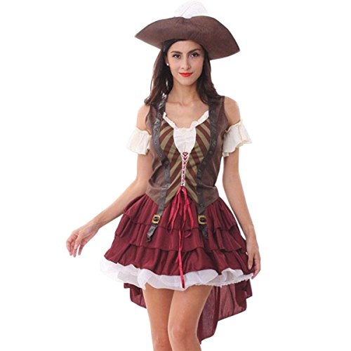 Quesera Women's Sexy Swashbuckler Pirate Costume High Sea Wench Halloween Outfits,Red,one Size fits US Size (Wench Halloween Outfit)