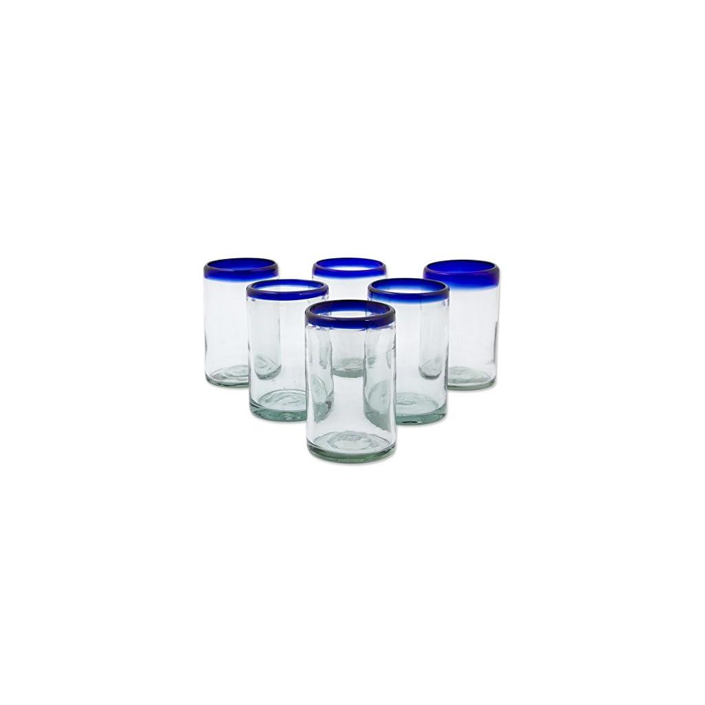 NOVICA Hand Blown Glass, 5″ H x 3.2″ Diam, Blue