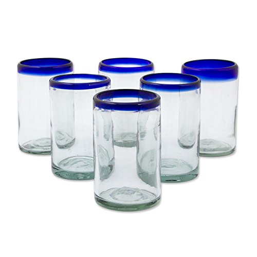 NOVICA Artisan Crafted Hand Blown Clear Blue Rim Recycled Glass Juice Glasses, 14 oz. 'Classic' (set of 6) (Blown Set Glass)
