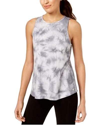 Dyed Cotton Ladies Tank Top - Calvin Klein Women's Performance Tie-Dyed Keyhole-Back Tank Top White/Quartz XL