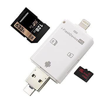 outlet store d9032 7606f YiKaiEn 3 in 1 Card Reader Flash Drive USB Micro SD SDHC TF Reader for  iPhone Xs Max/XS/XR/8/8 Plus 7/7 plus/6s/6s plus/s5s/5/5c/  ipad/MAC/PC/Android