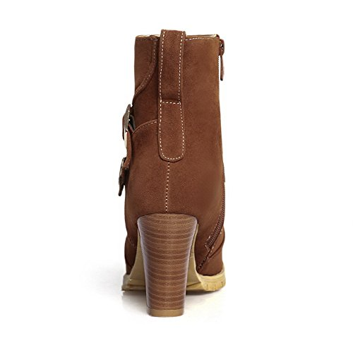 Frosted 1TO9 Heels Chunky Boots Buckle Womens Brown Zipper 14x4AwCq