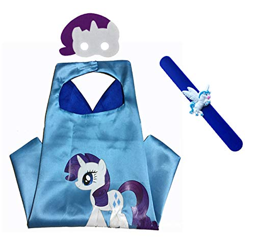 Raclove My Little Pony Rarity Costume Set-Cape, Mask and Pops Bracelet for Age 4-10 Kids. Christmas Birthday Party Gifts Purple -