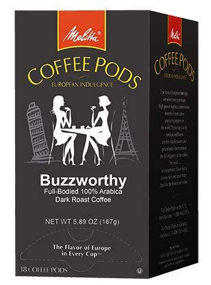 Melitta Coffee Pods for Senseo & Hamilton Beach Brewers, Buzzworthy High Caffeine, Dark Roast, 18 Count (Pack of 12) ()