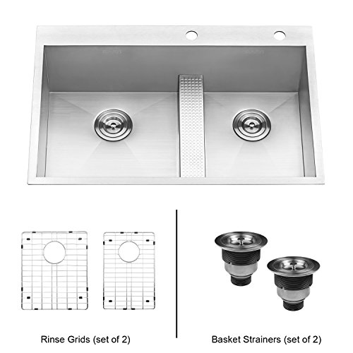Avado Double Bowl Corner - Ruvati 33-inch Drop-in Low Platform-Divide Zero Radius 60/40 Double Bowl 16 Gauge Topmount Kitchen Sink - RVH8059