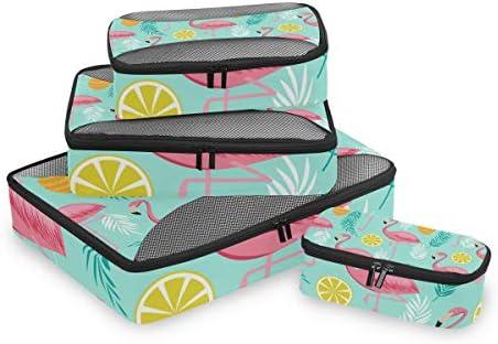 ピンクフラミンゴパイナップル荷物パッキングキューブオーガナイザートイレタリーランドリーストレージバッグポーチパックキューブ4さまざまなサイズセットトラベルキッズレディース
