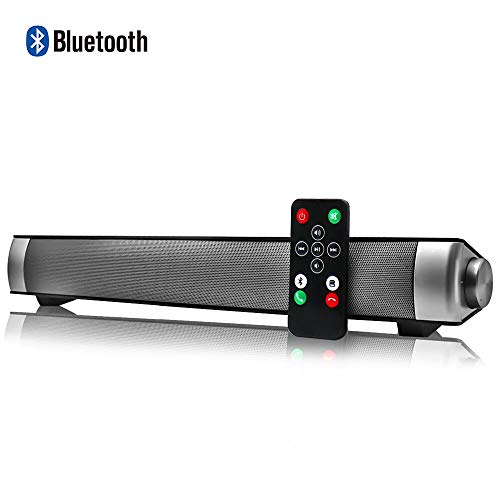 Sound Bar Wired and Wireless Connection 3D Surround Sound Speaker Bar Bluetooth Home Theater Silver with 2.0 Channel Remote Control Dual Connection Methods for TV PC Smartphones Music and Movie