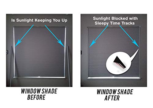 Sleepy Time Tracks a Room Darkening Solution That Blocks Light Along The Sides of Blackout Shades. 60″ White