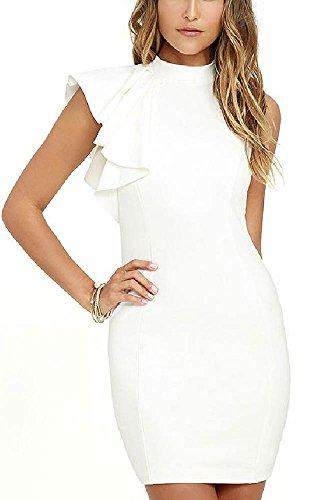 OL Elegant Bodycon Dresses Women One Side Tiered Ruffle Cute Sleeveless Dress Summer New O Neck Sexy Midi Dress White XS (Best Etsy Shops For Wedding Invitations)