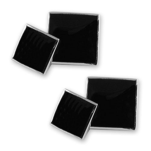 Select Gifts Sterling silver onyx double-sided cufflinks ()