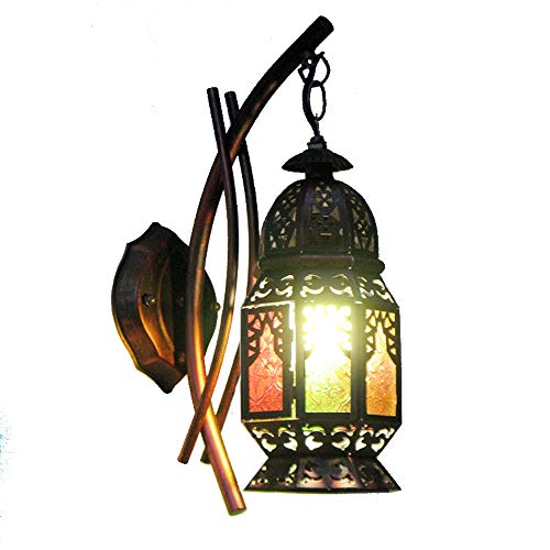 (KMYX Southeast Asian Lantern Lantern Indoor Wall Lamp Restaurant Decoration Wall Light Sconces for Aisle Barn Island Features Exotic Security Lights)
