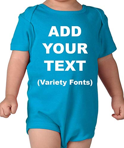 Custom Baby Onesies Ultra Soft Cotton Add Your Text for Baby Girl & Baby Boy - Turquoise/18M (12-18 Months) ()