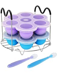 Pressure Cooker Accessories with Silicone Egg Bites Molds and Steamer Rack Trivet with Heat Resistant Handles Compatible with Instant Pot Accessories 6, 8 Qt, 3 Pcs with 2 Bonus Spoons (Blue & Purple)