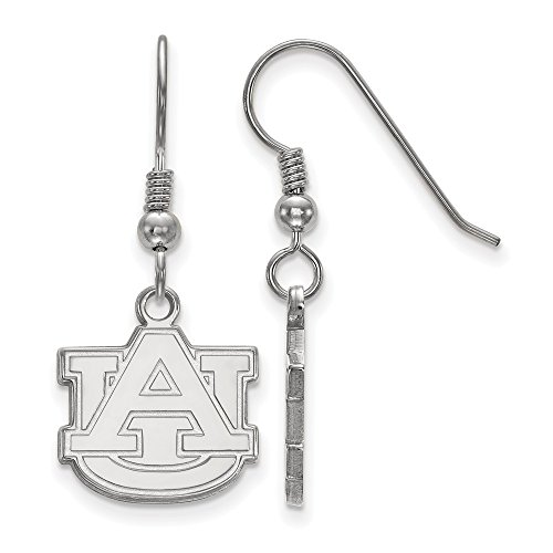 925 Sterling Silver Officially Licensed Auburn University College Small Dangle Wire Earrings (13 mm x 14 mm) by Mia's Collection
