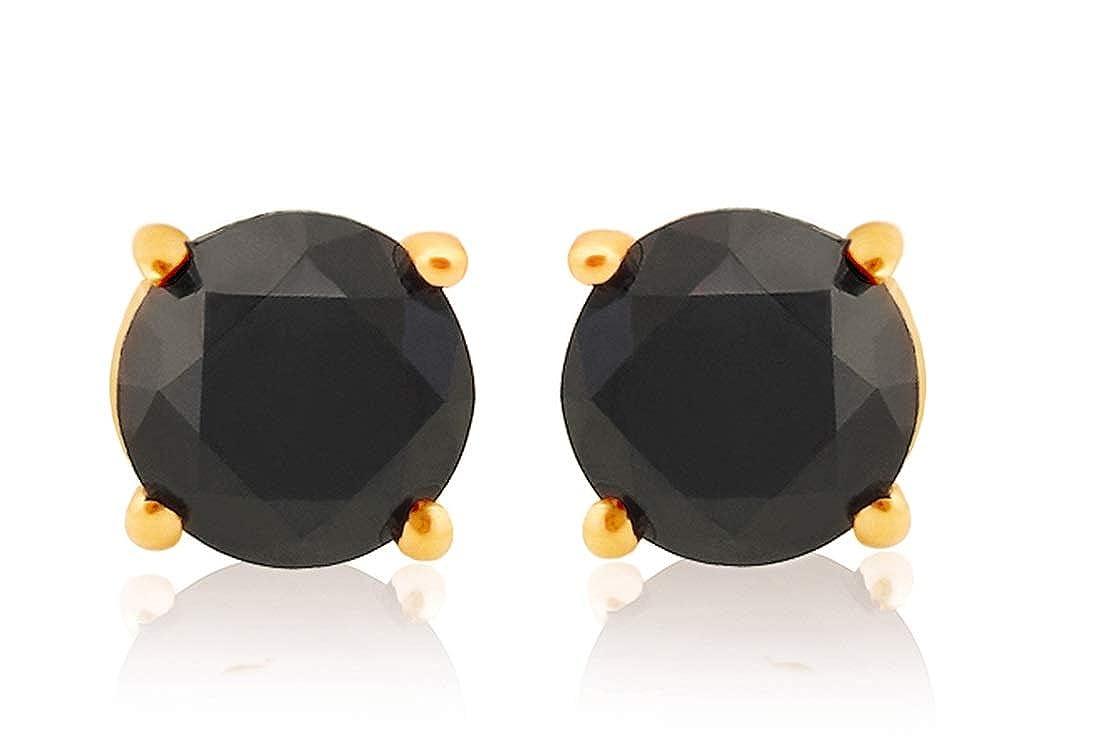 Prism Jewel Round Brilliant Cut Black Diamond Prong Set Screw Back Stud Earrings