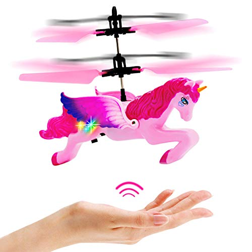 Flying Unicorn Toys Gifts for Girls 8-15 Years Old,Pink Mini RC and Hand Controlled Flying Helicopter Unicorn Fairy Toy Doll for Birthday (Best Toys For 15 Year Olds)