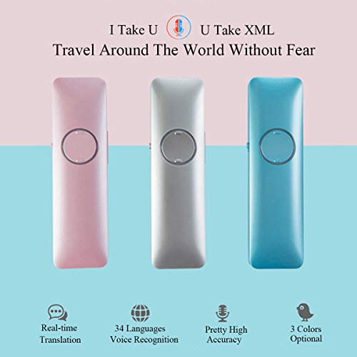 Smart Voice Translator Handy Electronic Bluetooth Device Real Time Speech Interactive Translation English Chinese French Spanish Japanese 34 Languages for Learning Travelling Business Meeting (Silver)