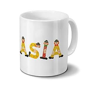 Taza con nombres Asia–Diseño Madera letras–Nombre Taza, Taza de café, Mug, Taza, Taza de café–Color Blanco
