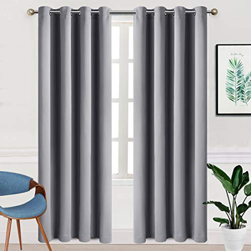TEKAMON Blackout Curtains for Bedroom Grommet 2 Panels Set Draperies,Thermal Insulated for Living Room,Nursery (W52 X L84 inch,Light Grey)