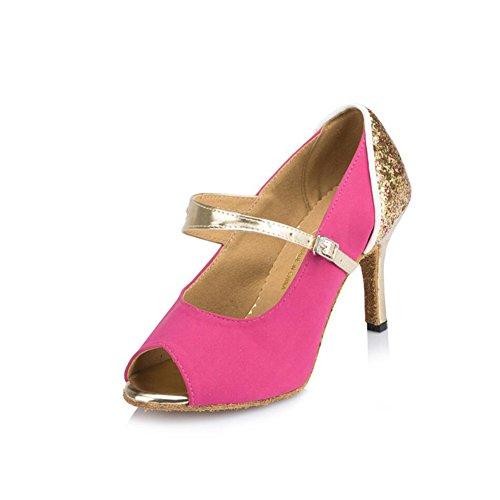 XUE Zapatos Latinos para Mujer/Zapatos de Salón Satén/Sandalia de Seda Interior/Hebilla Profesional Zapatos de Baile de Tacón Fiesta y Noche Rosa, Azul (Color : Segundo, Tamaño : 39) Un