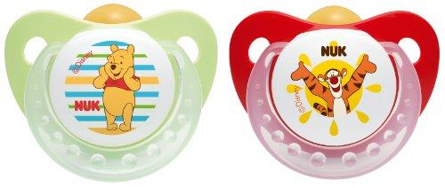 NUK 10171066 Latex Beruhigungssauger, Schnuller, Disney Winnie Trendline mit Ring, Größe 1, 0-6 Monate, BPA-frei, 2 Stück, grün/rot