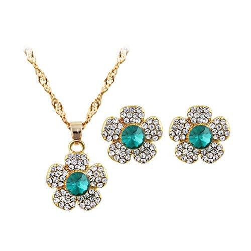 (BOOBODA 3pcs Women's Flower Earring Crystal Ornaments Necklace Ear Studs Jewellery (Green))