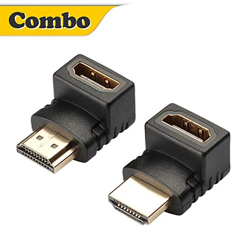 Warmstor HDMI 90 and 270 Degree Right Angle Adapter Gold Plated HDMI Male to Female Adapter Extender Connector 3D&4K Supported (Pack of 2)
