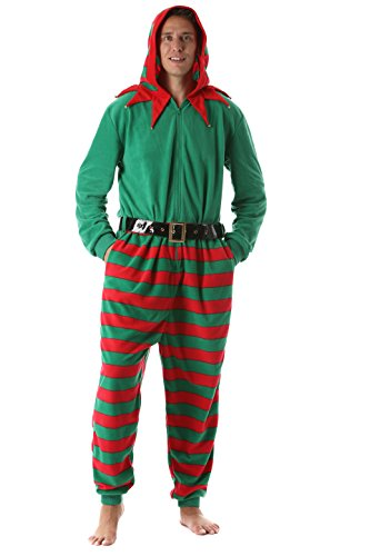 #FollowMe 6447 Men's Adult Onesie/Mens Pajamas, Elf, Medium