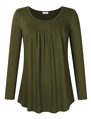 Clearlove Women's Tops and Blouses Long Sleeve Scoop Neck Plus Size Pleated Tunic T Shirt Long Sleeve Green XX-Large