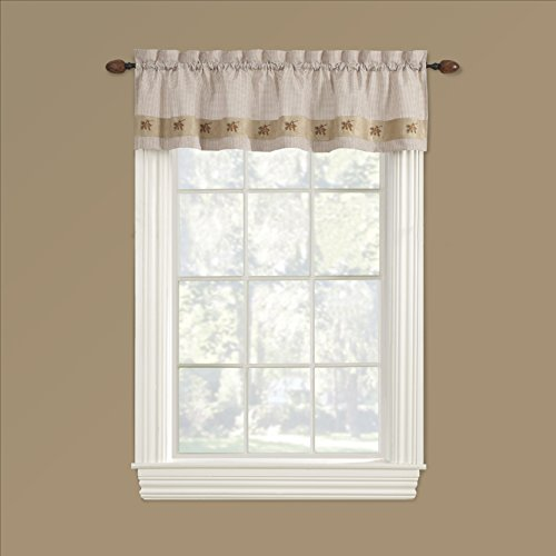 GPD Embroidered Mini-Plaid Valance - Perfect Plaid Curtain for Kitchen, Bathroom, and Bedroom - Small Check Plaid with Acorn Embroidery. Rustic Kitchen, Country, Cabin Look. (60