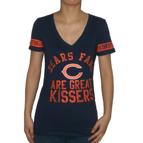 Womens NFL Chicago Bears V-Neck T Shirt by Pink Victoria's Secret Small Dark (Pink Chicago Bears Shirt)