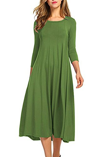Boosouly Line Midi Dress For Women 3/4 Sleeve Drop Waist Swing Outfit Dress Light Green XL (Sleeve Mid Coat Length 3/4)