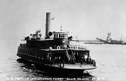New York - Ellis Island Ferry Photograph (16x24 SIGNED Print Master Giclee Print w/Certificate of Authenticity - Wall Decor Travel Poster)