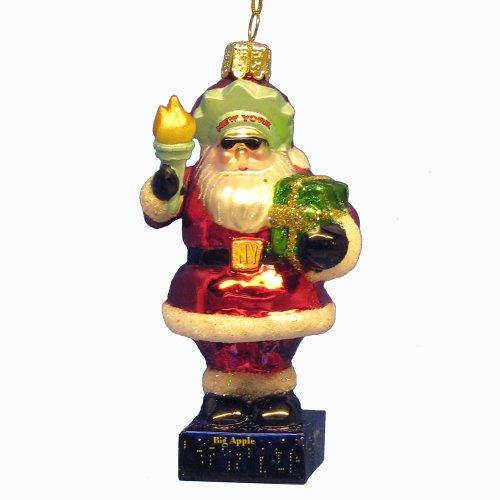 Kurt Adler 4-Inch Glass New York Santa Statue of Liberty Ornament ()