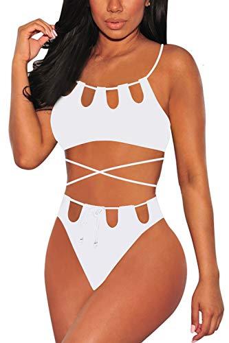 Swimsuit Halter White - Viottiset Women's Cut Out Halter Neck Lace-up High Waisted Bikini Swimwear M White
