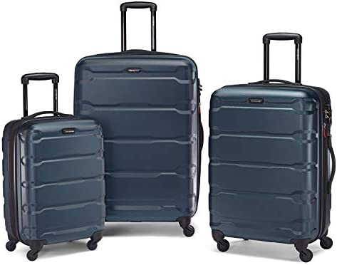 Samsonite Omni PC Hardside Expandable Luggage with Spinner Wheels, Teal, Checked-Medium 24-Inch