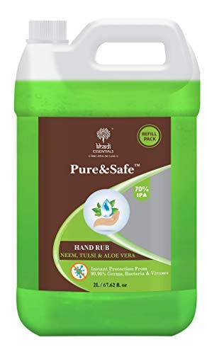 [Apply coupon] Khadi Essentials Pure&Safe 70% Alcohol Multi Purpose Sanitizer with Neem, Tulsi & Aloe Vera Extracts 2000ml