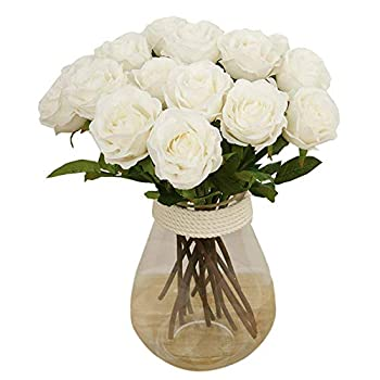 Bringsine Artificial Flowers, Real Touch Flowers Silk Artificial Rose Flowers Home Decorations for Bridal Wedding Bouquet, Birthday Flowers Bunch Hotel Party Garden Floral Decor White