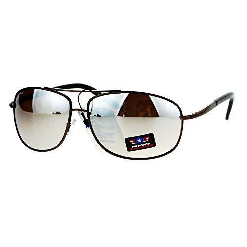 Mens Mirror Lens Narrow Rectangular Aviator Police Metal Rim Sunglasses - Aviator Narrow Sunglasses