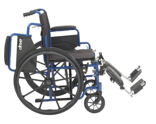 Drive Medical Blue Streak Wheelchair with Flip Back Desk Arms, Elevating Leg Rests, 20'' Seat by Drive Medical (Image #2)