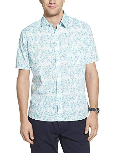 Geoffrey Beene Men's Slim Fit Easy Care Short Sleeve Button Down Shirt, Seaport Palm Print, Medium
