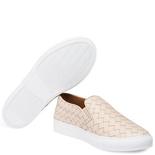 Abro Damen Geflochtene Slip-On Sneaker Beige