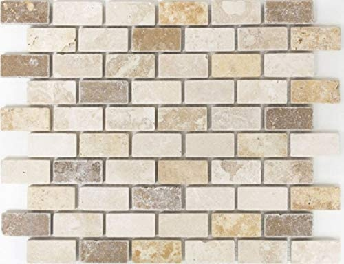 Mosaik Fliese Travertin Naturstein beige braun Mini Pattern Travertin MOS43-1204