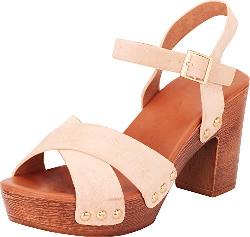Cambridge Select Women's Retro 70s Crisscross Strappy Studded Chunky Platform Block Heel Sandal,7.5 B(M) US,Beige IMSU