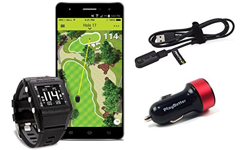 SkyCaddie Linx GT Tour Edition Bundle with PlayBetter USB Car Charge Adapter | Golf GPS Watch, Auto-Shot Tracking, Smartphone Notifications & 35,000+ Worldwide Courses
