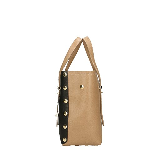in Impression POP Sac cuir femme Bags Boue à main en Boue Cm Italy Noir Made véritable Saffiano 23x23x12 PSrRzqPgn