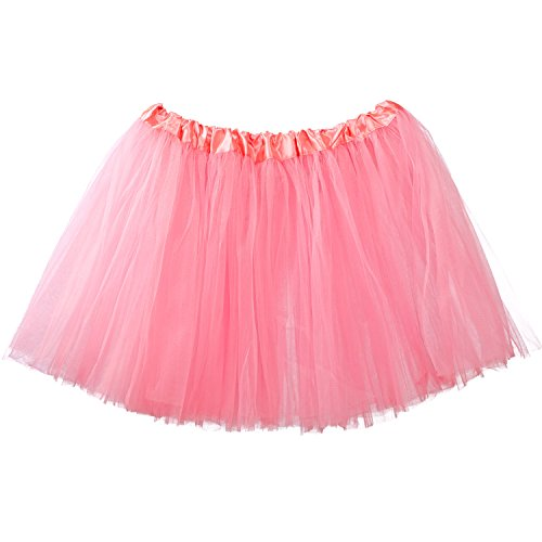 My Lello Women's, Teen, Adult 3-Layer Ballet Tulle Tutu Skirt -Bubblegum (Bubble Witch Costume)